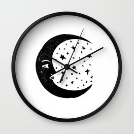 Linocut Moon crescent moon cycle lunar printmaking art decor black and white Wall Clock