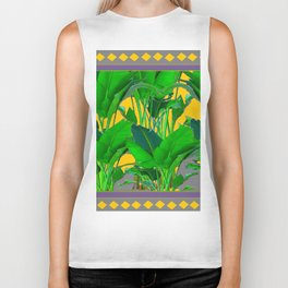 MAUVE YELLOW DIAMONDS TROPICAL GREEN & GOLD FOLIAGE Biker Tank