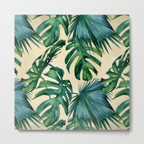 Tropical Island Republic Green on Linen Metal Print
