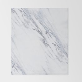 White Marble with Classic Black Veins Throw Blanket