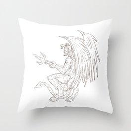 Demon Holding Pitchfork Drawing Throw Pillow