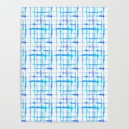 Watercolor Abstract Plaid TieDye in Indigo Ink Poster