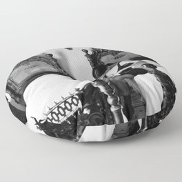 Under the Habit, Veil, Scapular, and Cowl Nun dressing in bra classic black and white photograph Floor Pillow