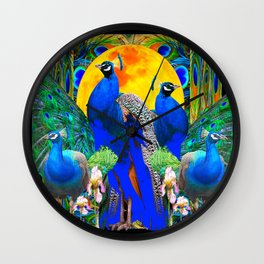 IRIS ART BLUE PEACOCKS & FULL GOLDEN MOON Wall Clock
