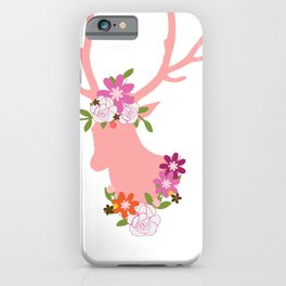 Floral Deer Head Hunting Gifts for Women iPhone Case