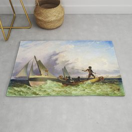 Long Boat off the Coast of Africa by Thomas Baines Rug