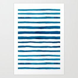 Watercolor Stripes in Classic Blue Art Print