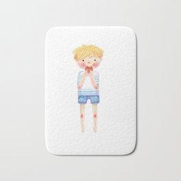 boy with cookies Bath Mat