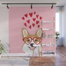 Corgi heart glasses dog breed valentines day welsh corgis gifts Wall Mural