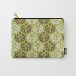 Mid Century Modern Flower Pattern Chartreuse and Brown 112 Carry-All Pouch