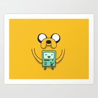 beemo Art Prints featuring Jake and BMO by OverClocked