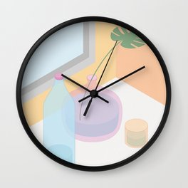 Glass, water and a window Wall Clock