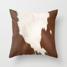 Brown Cowhide v4 Throw Pillow