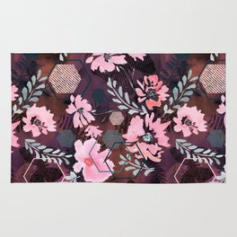 Pink flowers on an abstract cherry background. Rug