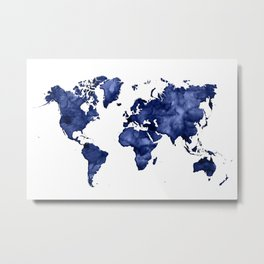 Dark navy blue watercolor world map Metal Print