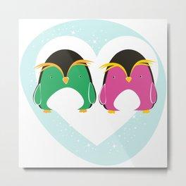Pinguini innamorati Metal Print