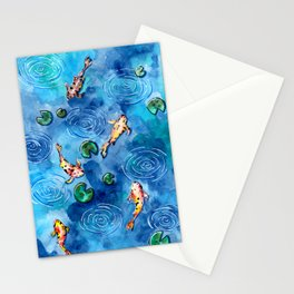 Koi Fish Pond in the Rain Stationery Cards