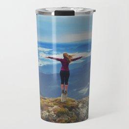 Young woman  on a stone   with raised hands,Carpathian ,Ukraine Travel Mug