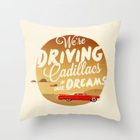 lorde Throw Pillows featuring We're Driving Cadillacs In Our Dreams - Lorde: Royals  by Four & Thirty