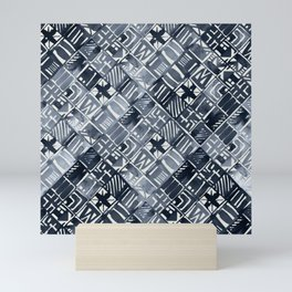 Simply Tribal Tiles in Indigo Blue on Lunar Gray Mini Art Print