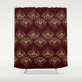 Persian Oriental pattern deep red and gold Shower Curtain