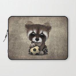 Cute Baby Raccoon With Football Soccer Ball Laptop Sleeve