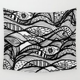 Hand painted black white watercolor abstract floral Wall Tapestry