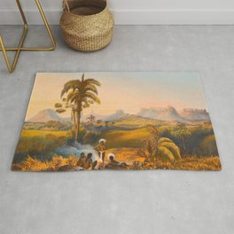 Roraima Mountain Illustrations Of Guyana South America Natural Scenes Hand Drawn Rug