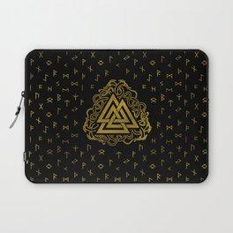 Gold Valknut Symbol on Runes Pattern Laptop Sleeve