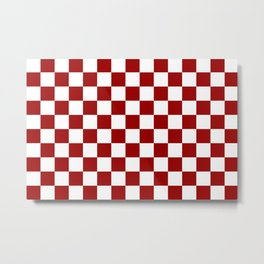 Crimson and White Colors Checker Pattern Digital Design Metal Print