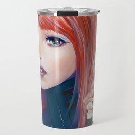 Captain Goldfish - Anime sci-fi girl with red hair portrait Travel Mug