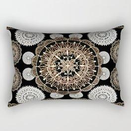 Black, Silver, and Rose-Gold Mandala Patterned Textile Rectangular Pillow