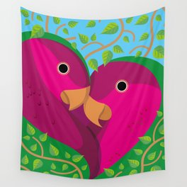 Tropical Lovebirds Wall Tapestry