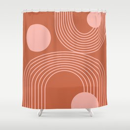 Lines in Terracotta and Blush Shower Curtain