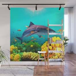 Shark in the water Wall Mural