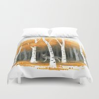 autumn Duvet Covers featuring Autumn Wolf by Freeminds