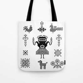 folk embroidery, Collection of flowers, birds, peacocks, horse, man, geometric ornaments, symbols e Tote Bag