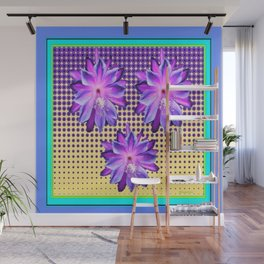 Exotic Lilac-Purple-BlueTropical Flowers yellow Optic Art Wall Mural