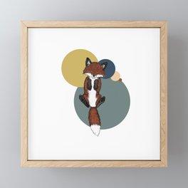 Baby Fox with Circles Framed Mini Art Print