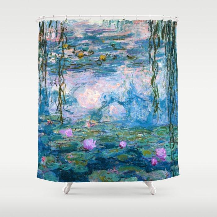 Water Lilies Monet Teal Shower Curtain