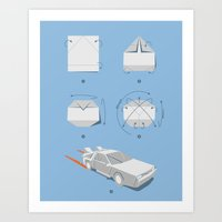 delorean Art Prints featuring Origami DeLorean by 6amcrisis