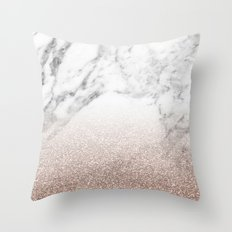 Marble sparkle rose gold Throw Pillow
