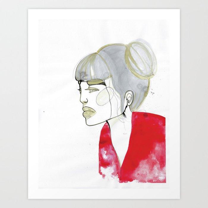 Iris - red sweater, grey hair Art Print