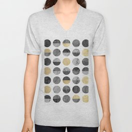 Marble and gold circles pattern Unisex V-Neck