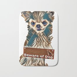 little dog and board in front of white background        - Image Bath Mat