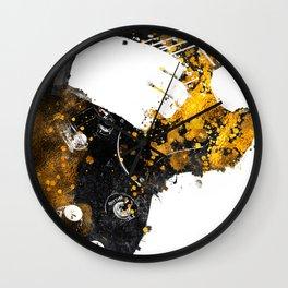 Guitarist music art black and gold #guitarist Wall Clock