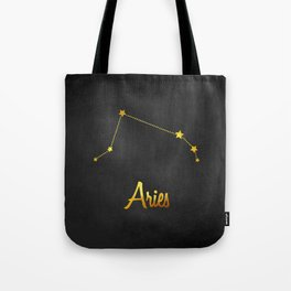 Aries Constellation in gold Tote Bag