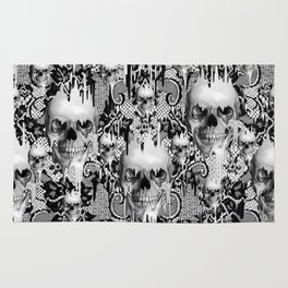 Victorian gothic lace skull pattern Rug