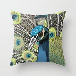 Hank the Peacock Throw Pillow