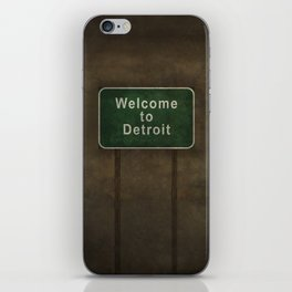 Welcome to Detroit highway road side sign iPhone Skin